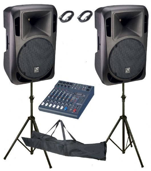 Studiomaster Drive 12A Active Speakers pair + Club XS8 Mixer, stands,leads, Pack